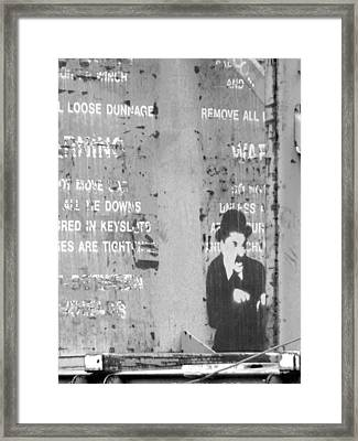 Street Graffiti Art - The Little Tramp Bw Framed Print