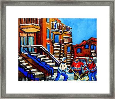 Street Hockey Near Staircases Montreal Winter Scene Framed Print by Carole Spandau