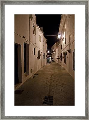 Street In A White Village Framed Print by Perry Van Munster