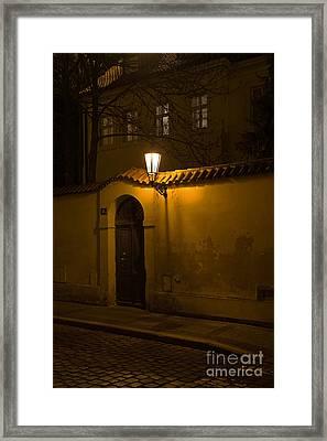 Street In Prague By Night Framed Print