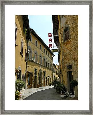 Framed Print featuring the photograph Street In Tavarnelle by Victoria Lakes