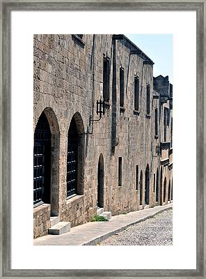 Street In The Medieval Fortress Of Rhodes. Framed Print