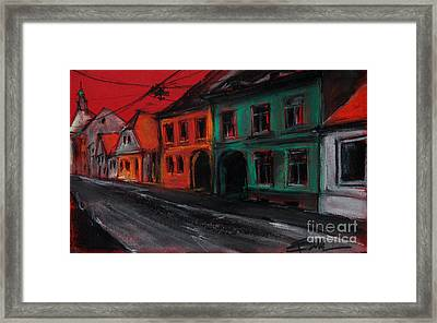 Street In Transylvania 1 Framed Print by Mona Edulesco