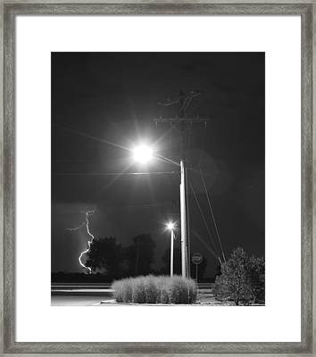 Street Light  Lightning In Black And White Framed Print