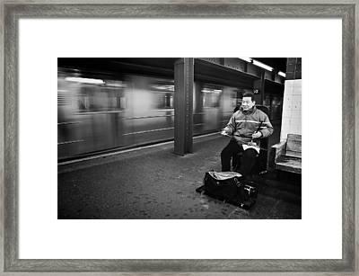 Street Musician In Subway Station In New York City Framed Print by Ilker Goksen