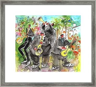 Street Musicians In Cyprus Framed Print by Miki De Goodaboom