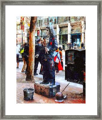 Street Performer In Downtown San Francisco . 7d4246 Framed Print by Wingsdomain Art and Photography