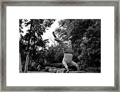 Street Scene 1 - Chinese Upside Down In The Park Guy Framed Print by Dean Harte