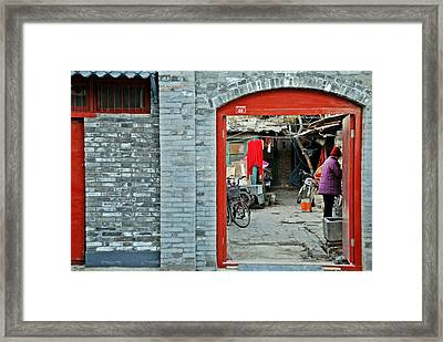 Street Scene 6 - Behind The Red Door Framed Print