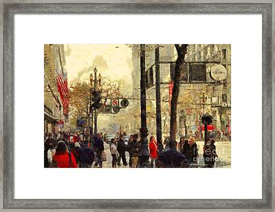 Street Scene At Market Street In San Francisco California . 7d4268 Framed Print by Wingsdomain Art and Photography