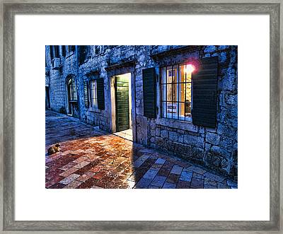 Street Scene In Ancient Kotor Montenegro Framed Print by David Smith