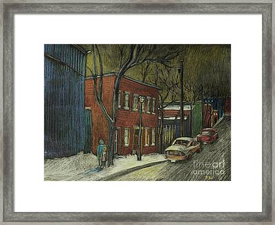 Street Scene In Pointe St. Charles Framed Print by Reb Frost