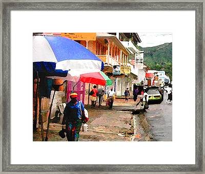 Street Scene In Rosea Dominica Filtered Framed Print