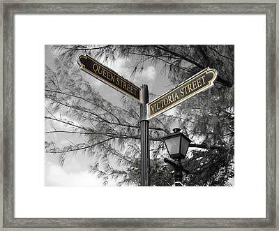 Street Signs On Grand Turk Framed Print
