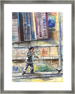 Street Sweeper In Cyprus Framed Print by Miki De Goodaboom