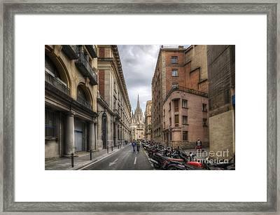 Street To Catedral De Barcelona Framed Print by Yhun Suarez