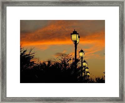 Streetlamp Sunset Framed Print