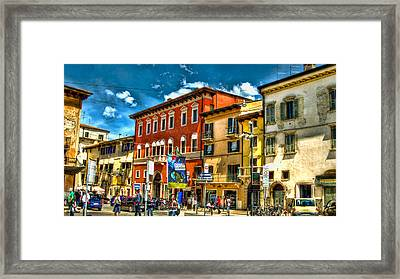 Streetlife In Verona Framed Print by Jon Berghoff