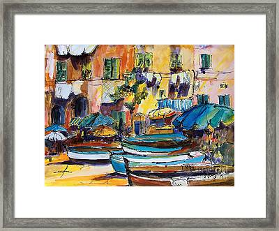 Streets Of Portofino Italy Framed Print by Ginette Callaway