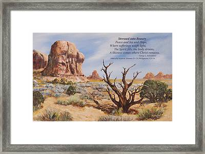 Stressed Into Beauty With Poem Framed Print