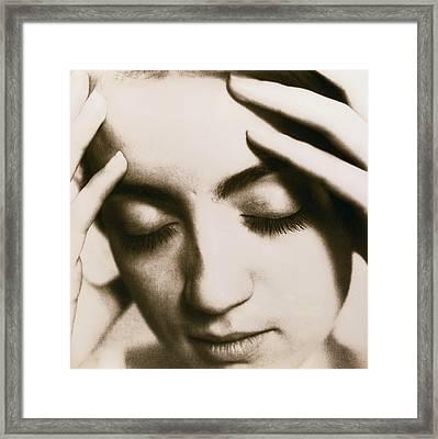 Stressed Woman Framed Print by Cristina Pedrazzini