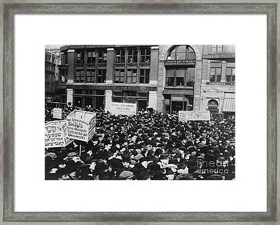 Strikers In Union Square Framed Print by Photo Researchers