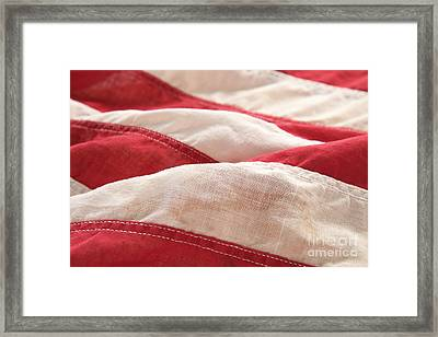 Stripes Of An Old American Flag Framed Print by Ruby Hummersmith