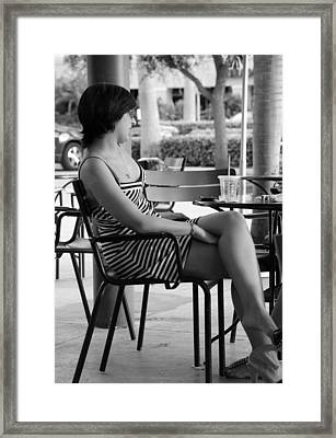 Stripped Dress Lady Framed Print by Rob Hans