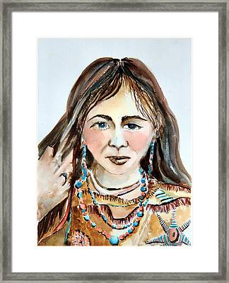 Stroking Her Hair Framed Print by Mindy Newman