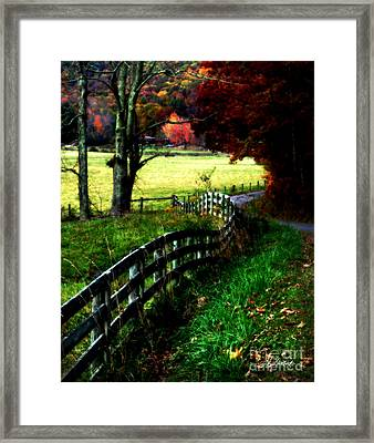 Strolling Down The Old Country Road Framed Print