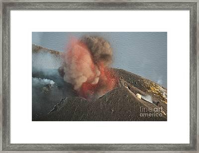 Strombolian Eruption Of Stromboli Framed Print by Richard Roscoe