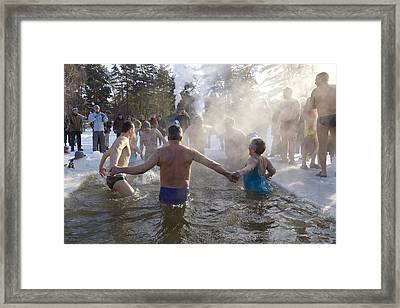 Strong People In Ice Water Framed Print by Aleksandr Volkov