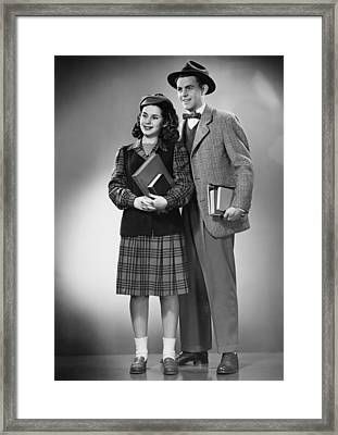 Student Couple Posing In Studio, (b&w), Portrait Framed Print by George Marks