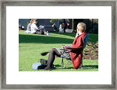 Students And Teachers In The Campus Park Framed Print by Yurix Sardinelly