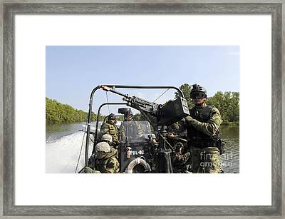 Students On Patrol Boat From The Patrol Framed Print by Stocktrek Images