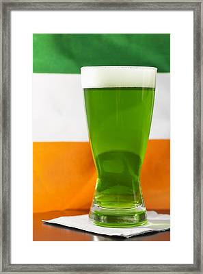 Studio Shot Of Glass Of Green Beer With Irish Flag Framed Print