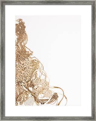 Studio Shot Of Gold Jewelry Framed Print by Vstock LLC