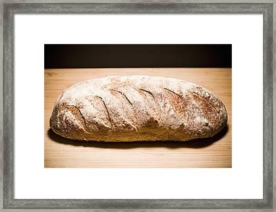 Studio Shot Of Loaf Of Bread Framed Print