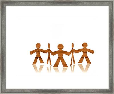 Studio Shot Of People Paper Chain Framed Print by David Arky
