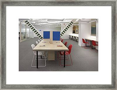 Study And Seating Area In The Library Framed Print