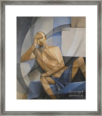Study In Blue And Ochre Framed Print