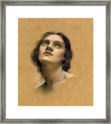 Study Of A Head Framed Print by Evelyn De Morgan