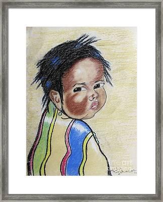 Study Of A Navajo Child  2 Framed Print