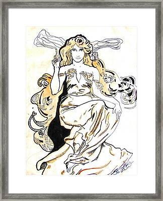 Study Of Art Nouveau After Mucha Framed Print by Julie Coughlin