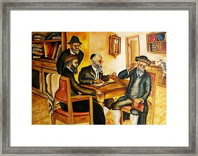Framed Print featuring the painting Studying Gmara by Itzhak Richter