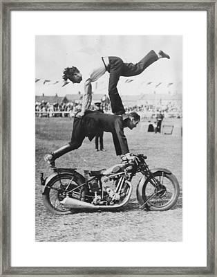 Stuntmen Framed Print by Fox Photos