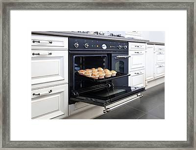 Stylish Oven In A Modern Kitchen. Range Framed Print by Corepics