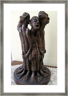 Suffering Circle In Bronze Sculpture Men In Rugs Standing In A Circle With Suffering Faces Crying  Framed Print