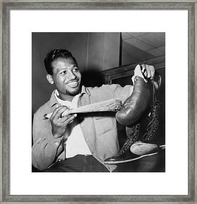 Sugar Ray Robinson Dusting Framed Print by Everett