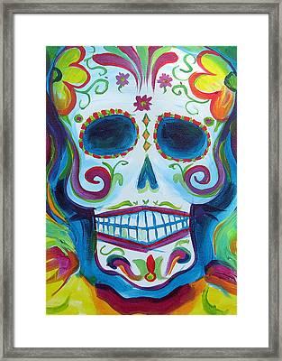 Sugar Skull Framed Print by Janet Oh